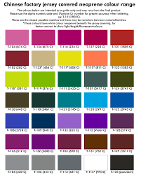 Neoprene Colour Charts For Promotional Products And Stubby