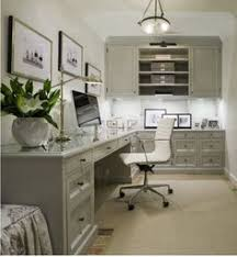 home office cabinet design ideas. Gray Office With L Shaped Desk Beveled Top White Chair. Built-in Cabinets Glossy Cabinet Moldings. Polished Nickel Home Design Ideas R