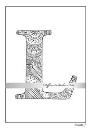 Zentangle Alfabet Kleurplaat Letter L Kleur Voor Volwassenen Etsy