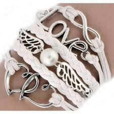 white leather wrap love angle wings