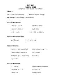 Math 10 3 Formula Sheet