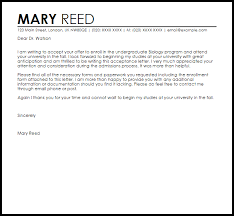 Letter Of Acceptance Sample School School Acceptance Letter Example Letter Samples Templates
