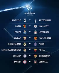 ucl r16 chelsea draw barca real madrid to face psg united get sevilla
