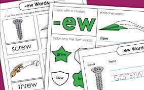 Teaching phonics word families helps beginning readers read simple words. Word Family Activities Ew Words
