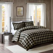 details about cozy 100 cotton flannel cabin tan bk red 3 pc checker duvet cal king queen set