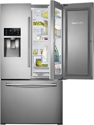 samsung 27 8 cu ft french door refrigerator with food showcase and thru the door ice and water stainless steel rf28hdedbsr best