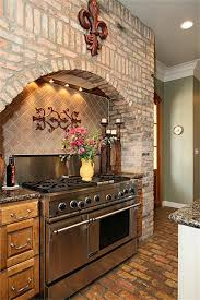 oven is accented with an arched wall