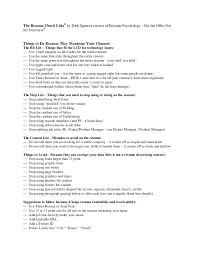 The Resume Check Lists by Dirk Spencer creator of Resume Psychology - Get  the Offer ...