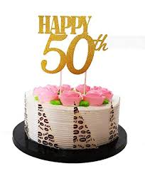 Gold Glitterhappy 50th Birthday Cake Topper Forever 50 Party