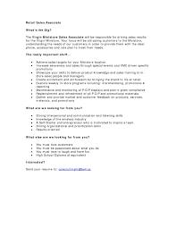 Extraordinary Retail Sales Associate Job Description For Resume Best