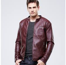 mens leather jacket european style black brown red lether er jacket for men wviemuo