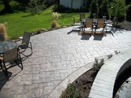 slate backyard stamped concrete patio ideas