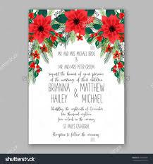 poinsettia wedding invitation sample card beautiful winter floral poinsettia wedding invitation sample card beautiful winter floral or nt christmas party wreath poinsettia pine branch fir tree needle flower bouquet