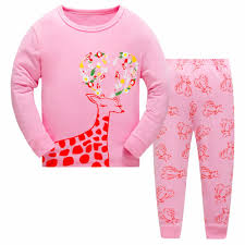 Designer Christmas Pajamas 2017 Christmas Kids Pajama Sets Girls Deer Pattern Sleepwear