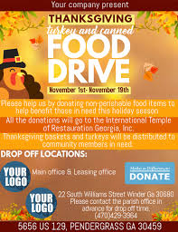 Food Drive Flyers Templates Thanksgiving Food Drive Template Postermywall