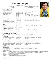 Acting Resume Amazing Kenan Heppe Acting Resume
