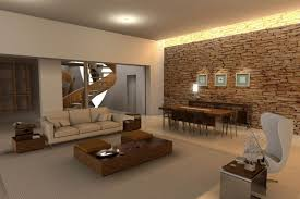 spacious modern living room interior decorating ideas with beige sofa and brown coffee table also white relax chair joint with dining ares using elegant