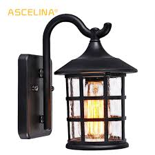 Rustic Lantern Light Us 45 59 24 Off Antique Rustic Iron Waterproof Outdoor Wall Lamp Vintage Kerosene Lantern Light Rusty Matte Black Corridor Hallway Wall Sconce In