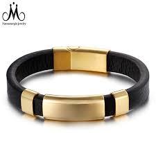 shiny gold clasp leather strap bracelet men luxury leather watch wristband jewelry