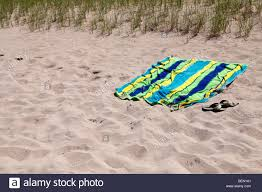 beach towels on sand. View Of Sand Beach Towel And Sandals In Michigan USA United States No Not People Nobody Towels On I