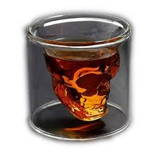 2 5 ounce crystal skull beer whiskey double shot glass cup