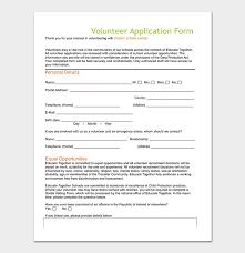 volunteer template volunteer application template 20 forms doc pdf format