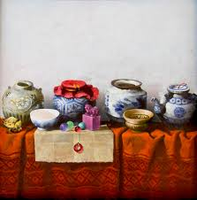 vietnamese art still life with antique pots an oil painting on canvas