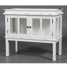 china antique white solid wooden glass door small sideboard with floating wooden serving tray