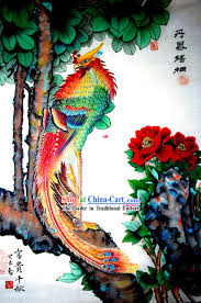 chinese traditional painting with meticulous detail lucky phoenix