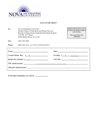 Fax Cover Sheet To Nova Southeastern University Fischler