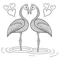 Kleurplaat Pagina Met Flamingo Vogels Uit Liefde Hand Drawin Stock