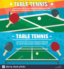 Design Table Tennis Table Tennis Playing Banner Set Flat Illustration Of Table