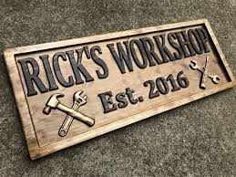 everyone will know where his work is with a personalized handyman wooden sign
