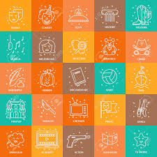 Film Genres Vector Set Of Movie Genres Line Icons Isolated On Background