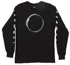 Altru My Chart Lunar Eclipse Moons Mens Long Sleeve Black Graphic Tee Shirt