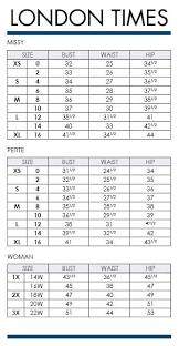 London Times Missy Petite And Plus Size Charts Via