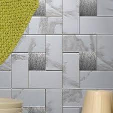Metal floor tiles Industrial Metal Instant Mosaic 12 12 Metal Peel Stick Mosaic Tile In Faux White Marble Reviews Wayfair Wayfair Instant Mosaic 12 12 Metal Peel Stick Mosaic Tile In Faux