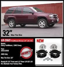 trailblazer tire size readylift 2 front 1 rear sst lift kit for 02 09 chevrolet gmc