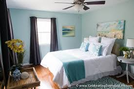 Investor Staging Master Bedroom blue and gray .
