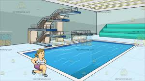 indoor pool house with diving board. A Fat Woman Doing Lunges At Indoor Olympic Style Diving Pool House With Board B
