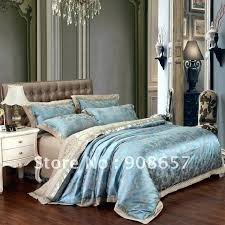 blue camel satin cotton fabric luxurious jacquard embroidered duvet covers set for queen or king comforter