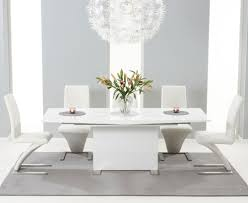 extendable dining table set: alpe white gloss extending dining table  cm