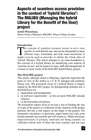 Aspects of seamless access provision in the context of 'hybrid libraries':  The MALIBU (Managing the hybrid library for the b