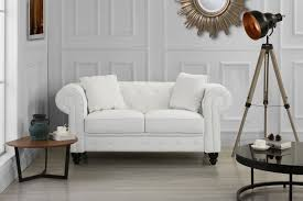 classic living room bonded leather scroll arm chesterfield loveseat white com