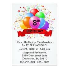 8th Birthday Party Invitations 8th Birthday Invitations Zazzle