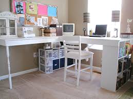 awesome home office decorating. awesome colorful accent in bright white theme of simple home office decor with twin table lamps decorating