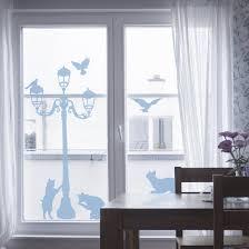 Fensterfolie Fenstertattoo Nors67 Katzen Und Laterne Milchglasfolie