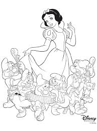 Disney Princess Snow White With 6 Of The 7 Dwarves Coloring Page