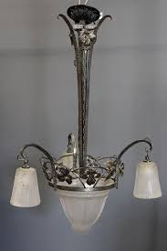 french art deco frosted etched glass chandelier by clarke auction bidsquare
