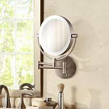 lighted wall mirror. satin nickel cordless led lighted wall mounted mirror w